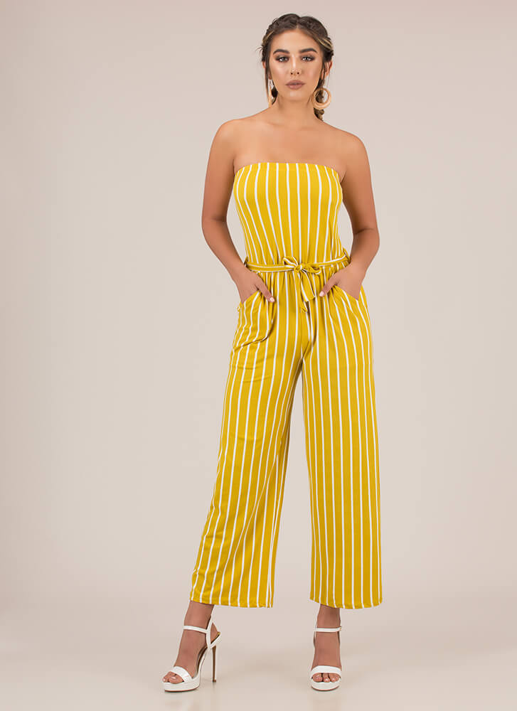 Favorite Sun Strapless Striped Jumpsuit MUSTARD (You Saved $12)