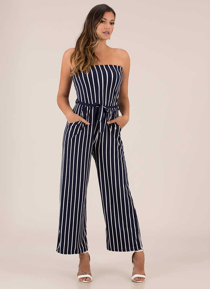 Favorite Sun Strapless Striped Jumpsuit NAVY (You Saved $12)