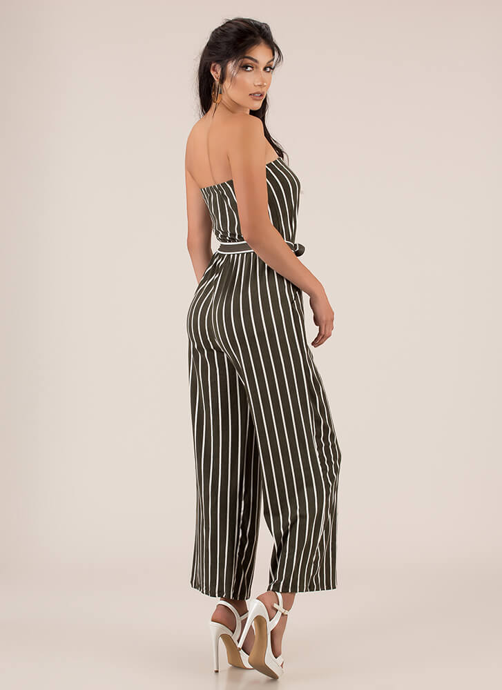 Favorite Sun Strapless Striped Jumpsuit OLIVE (You Saved $12)