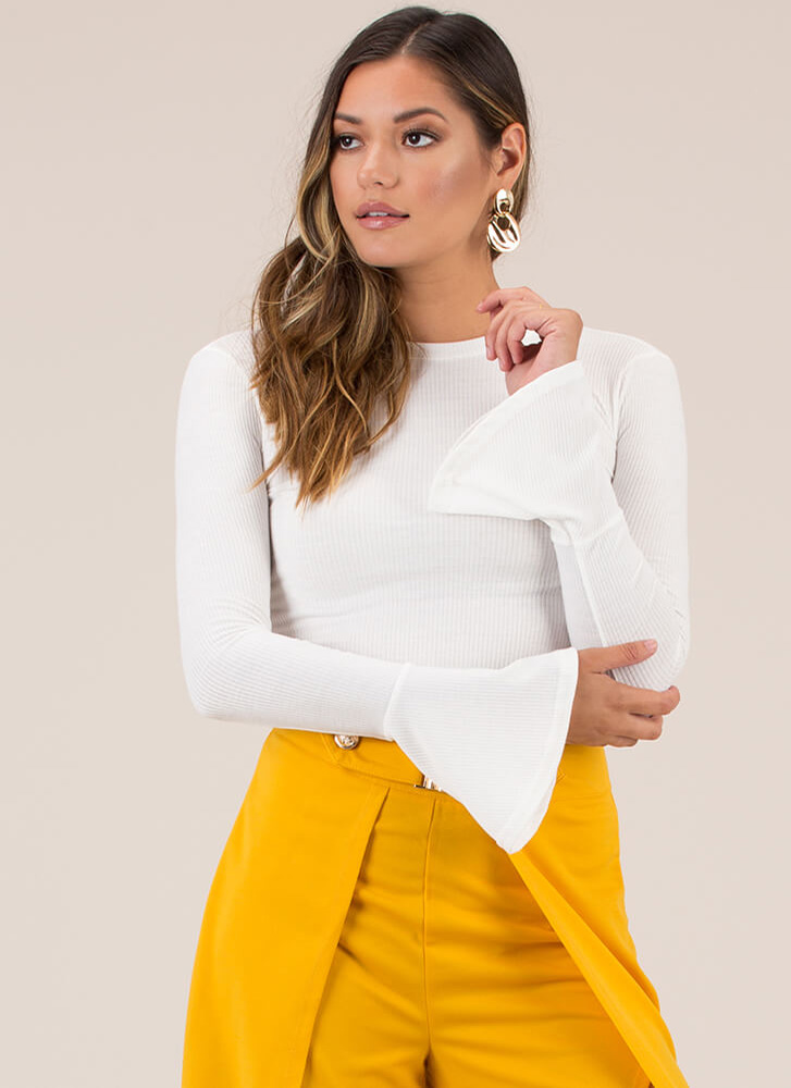 A Little Flare Bell Sleeve Crop Top WHITE