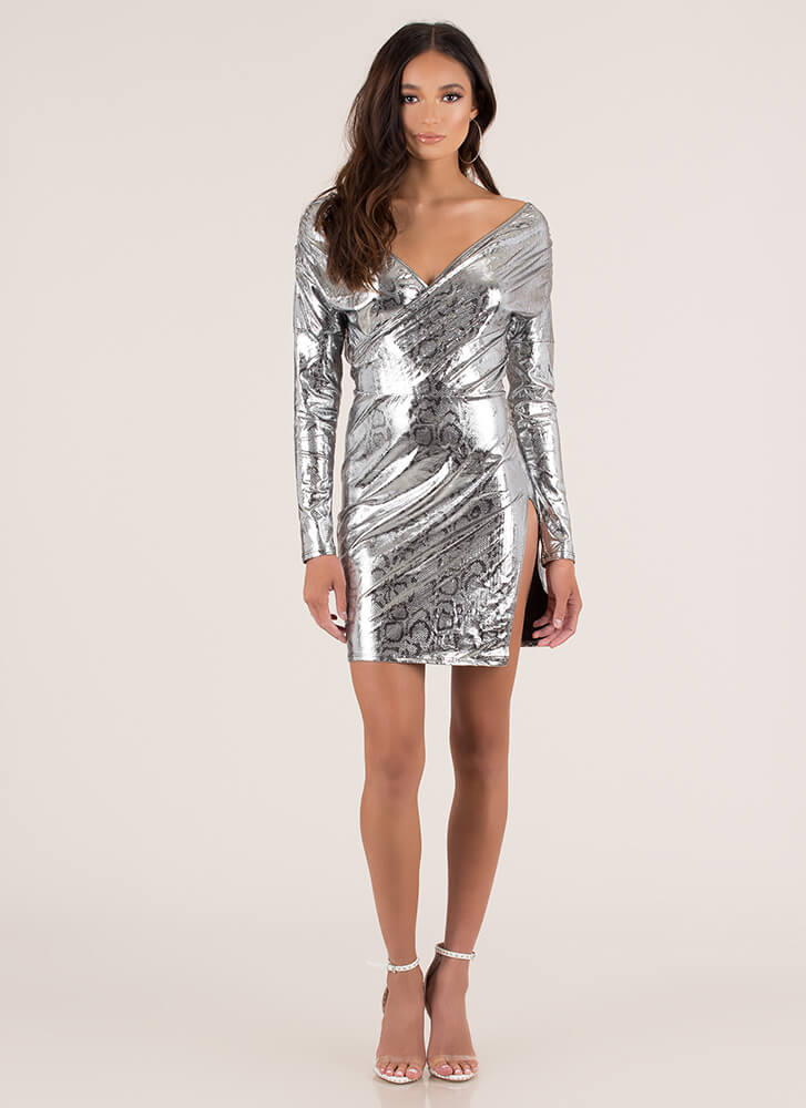 Foiled Ya Metallic Snake Print Minidress SILVER