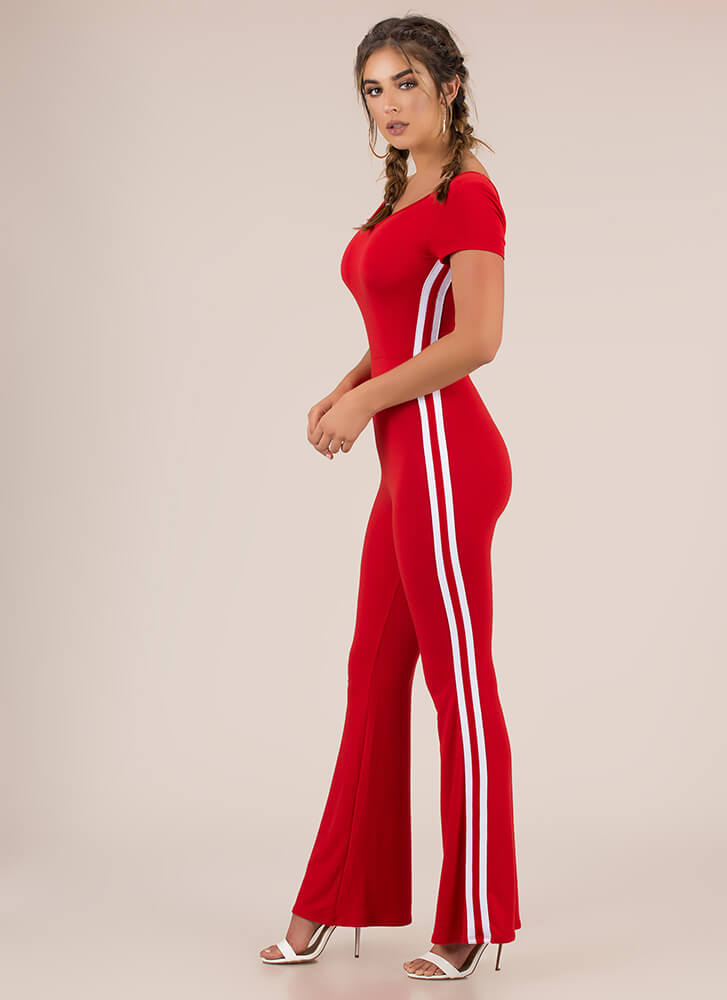Good Sport Striped Flare-Leg Jumpsuit RED