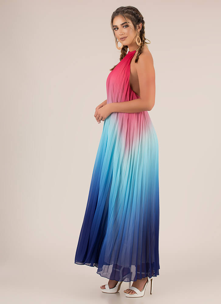 Pleating Lady Ombre Halter Maxi Dress MULTI