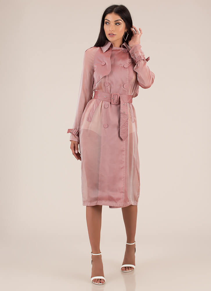 New Classic Sheer Belted Trench Coat PINK