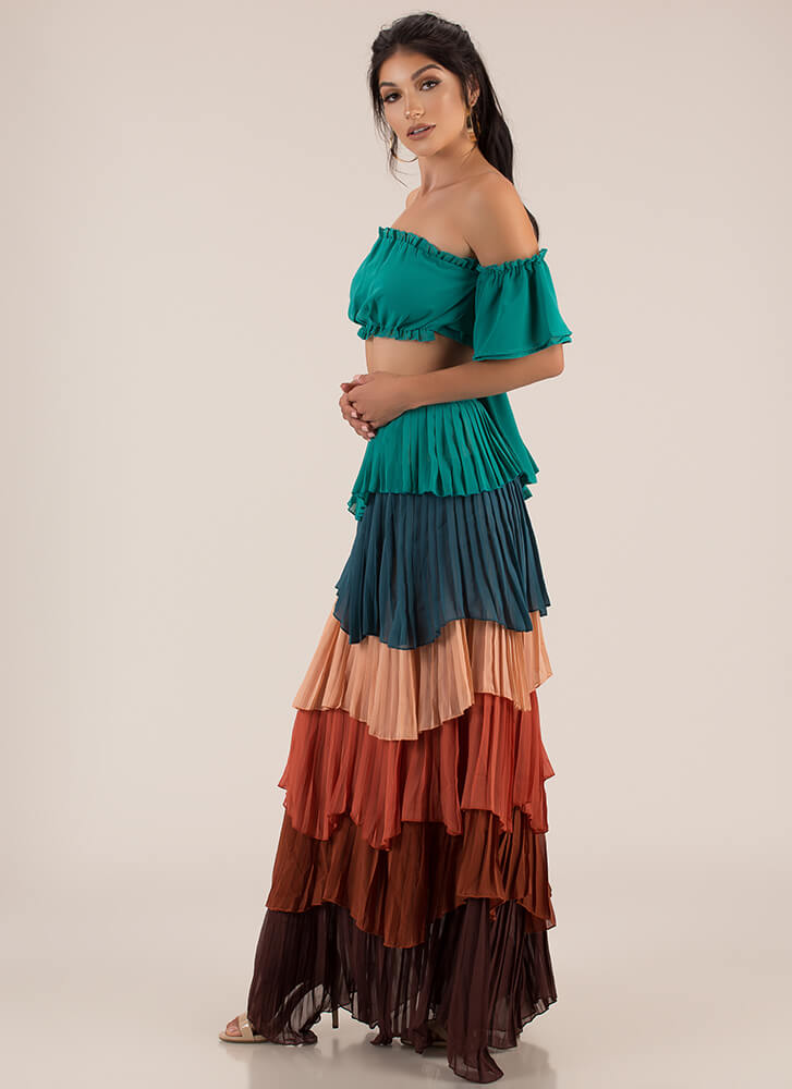 Gypsy Ruffled Pleated Two-Piece Dress TEALMULTI
