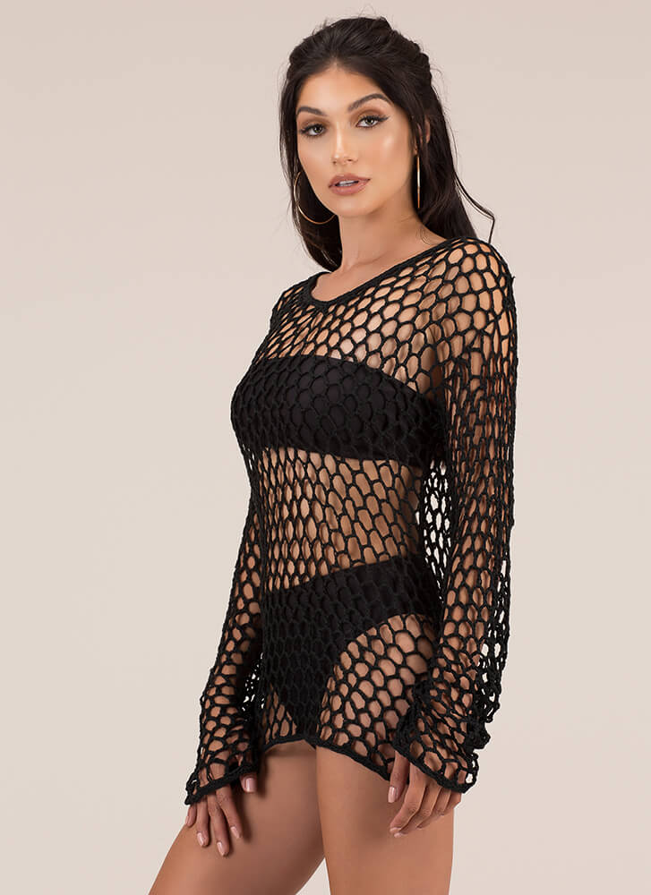 Catch Of The Day Netted Knit Top BLACK