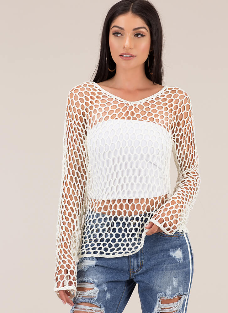 Catch Of The Day Netted Knit Top IVORY