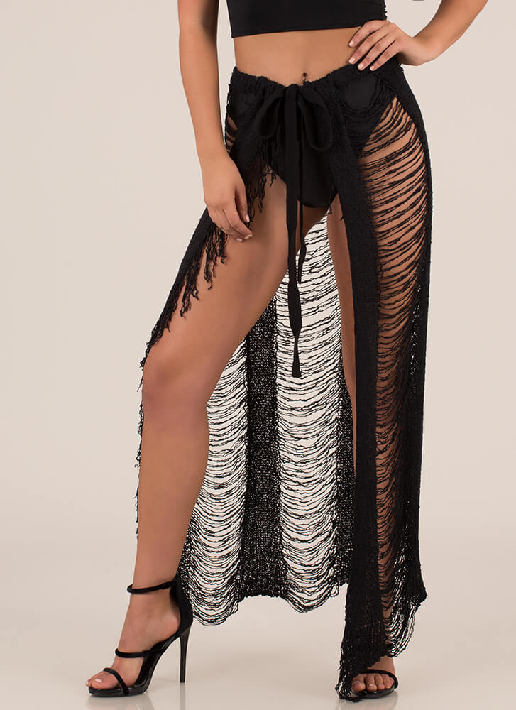 Knit Me Up Distressed Tie-Front Skirt BLACK
