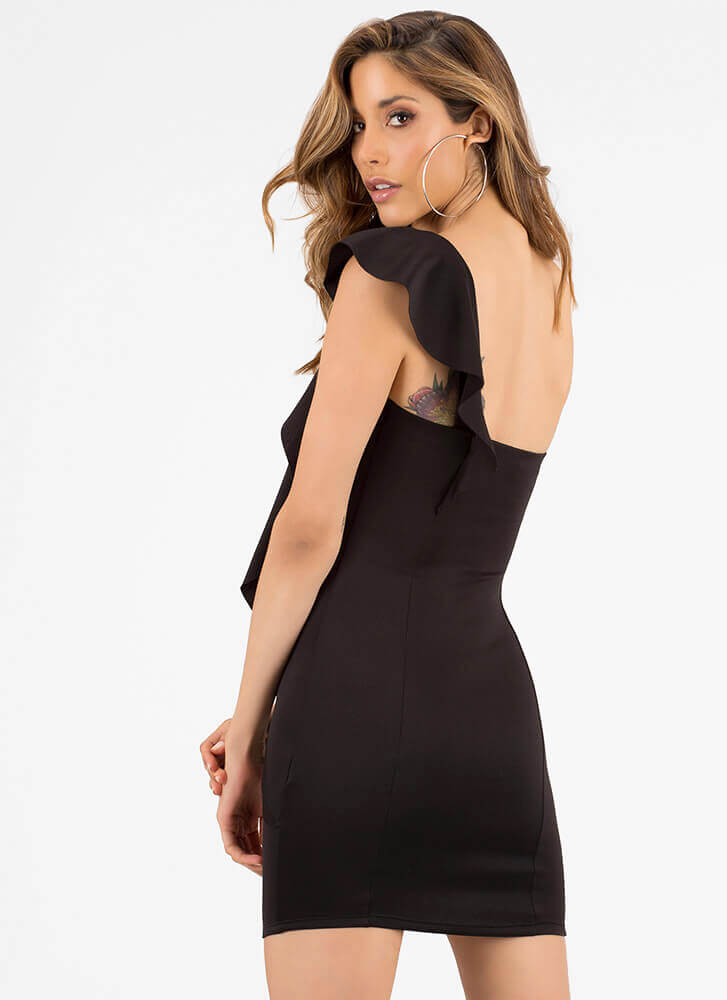 Flatter Me Draped Ruffled Minidress BLACK
