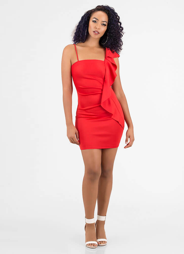 Flatter Me Draped Ruffled Minidress RED