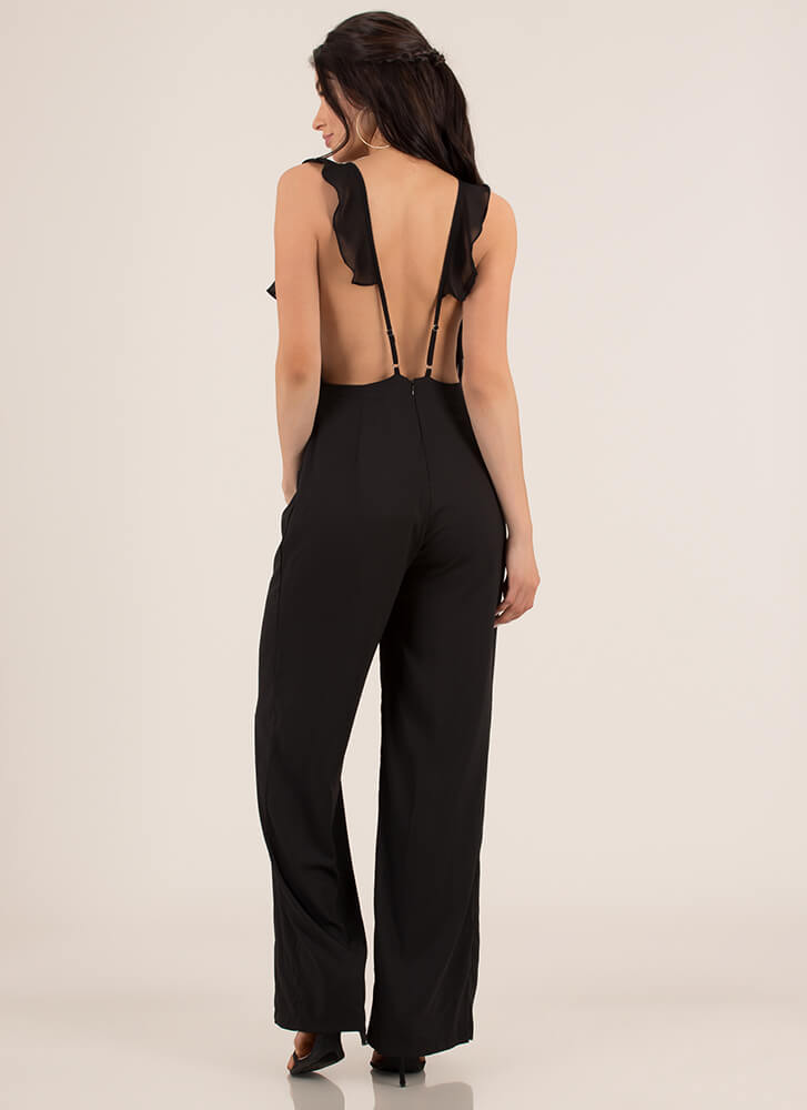 A Little Lace Ruffled Palazzo Jumpsuit BLACK (Final Sale)