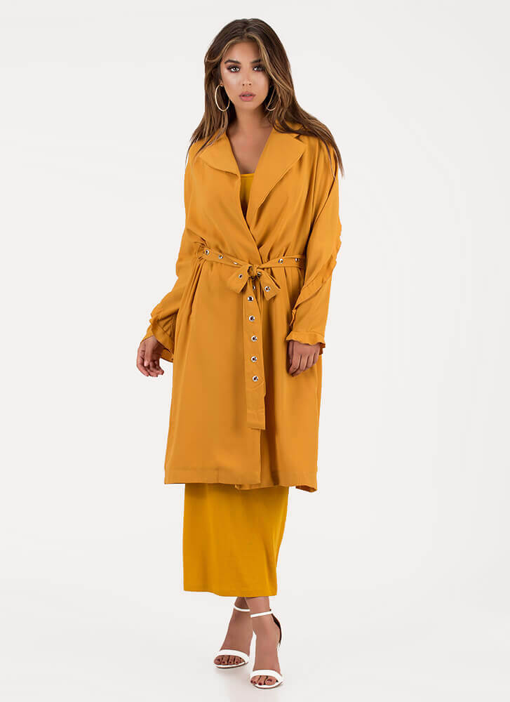 Take Cover Belted Ruffle Sleeve Duster MUSTARD