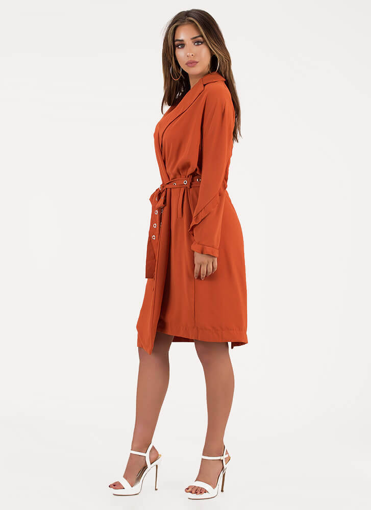 Take Cover Belted Ruffle Sleeve Duster RUST