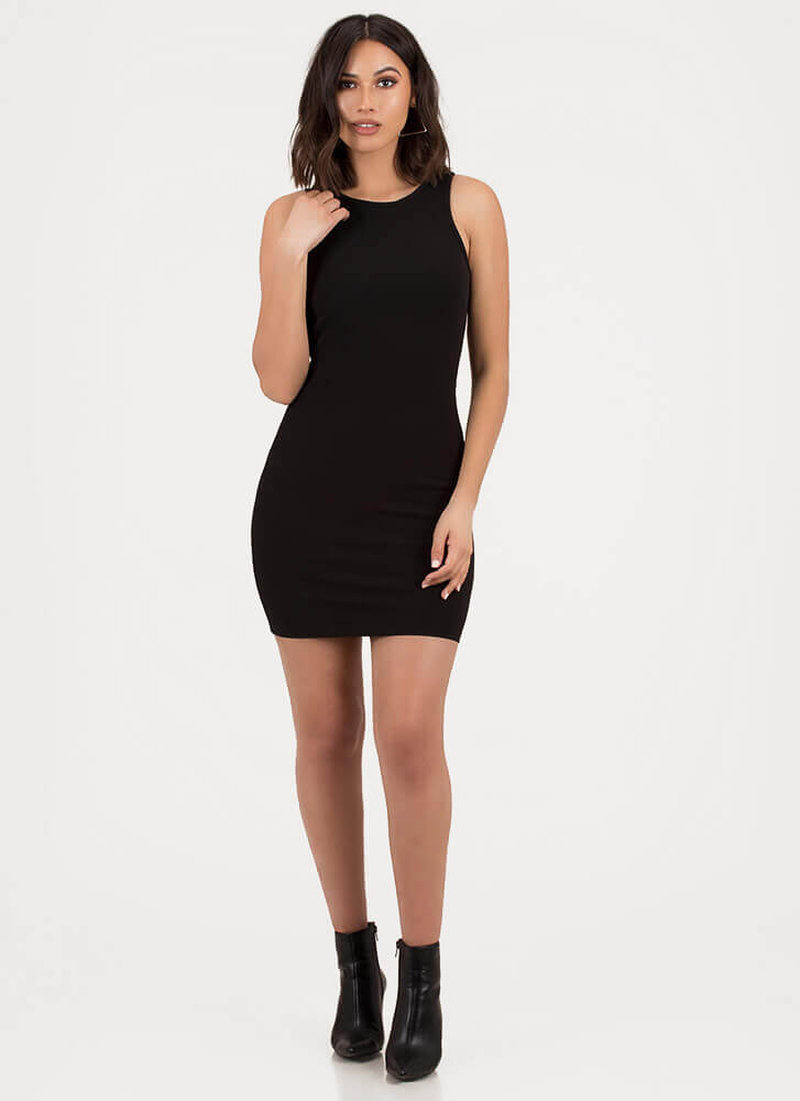 Final Round Ringed Cut-Out Minidress BLACK