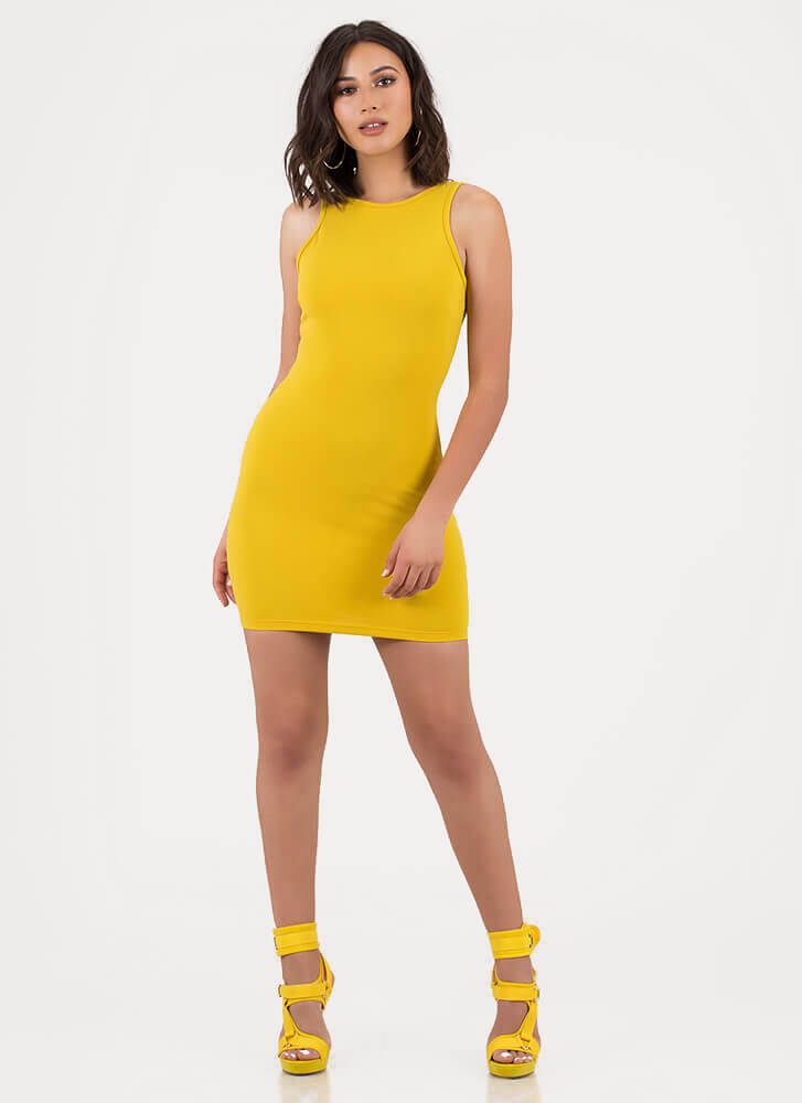Final Round Ringed Cut-Out Minidress MUSTARD