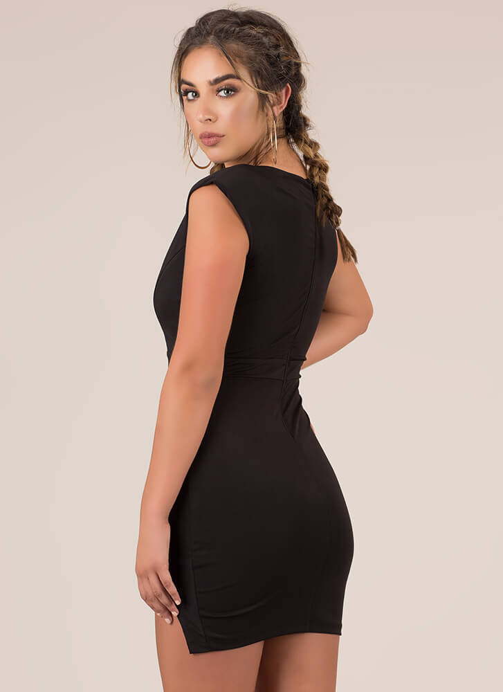 X's And Oh Wows Strappy Slit Minidress BLACK