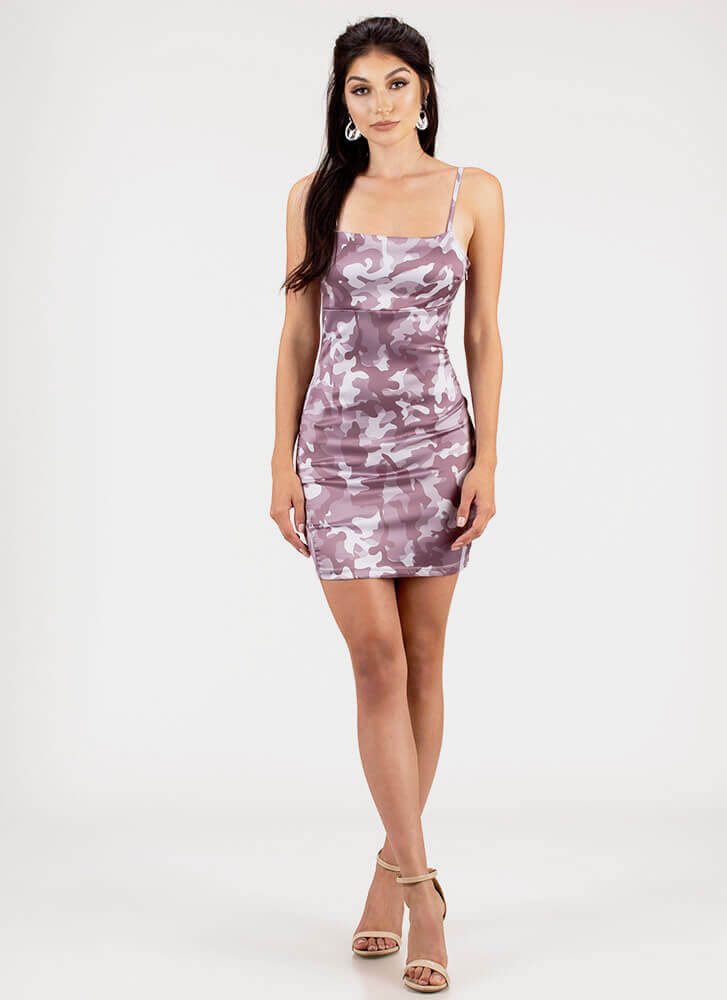 Take Command Satin Camo Minidress MAUVE