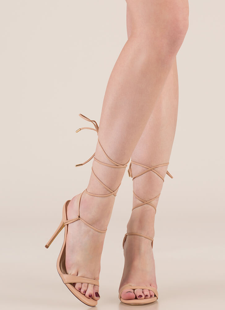 Tying To Know Strappy Lace-Up Heels NUDE