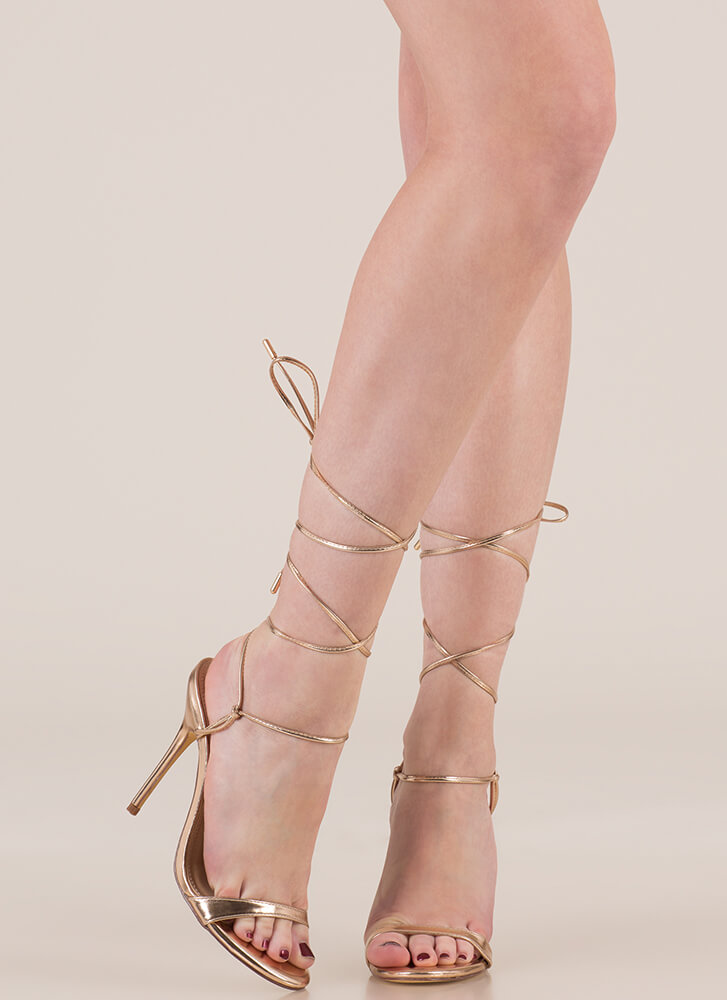 Tying To Know Strappy Lace-Up Heels ROSEGOLD