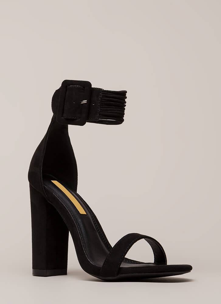 Harmonious Cords Chunky Ankle Cuff Heels BLACK (Final Sale)