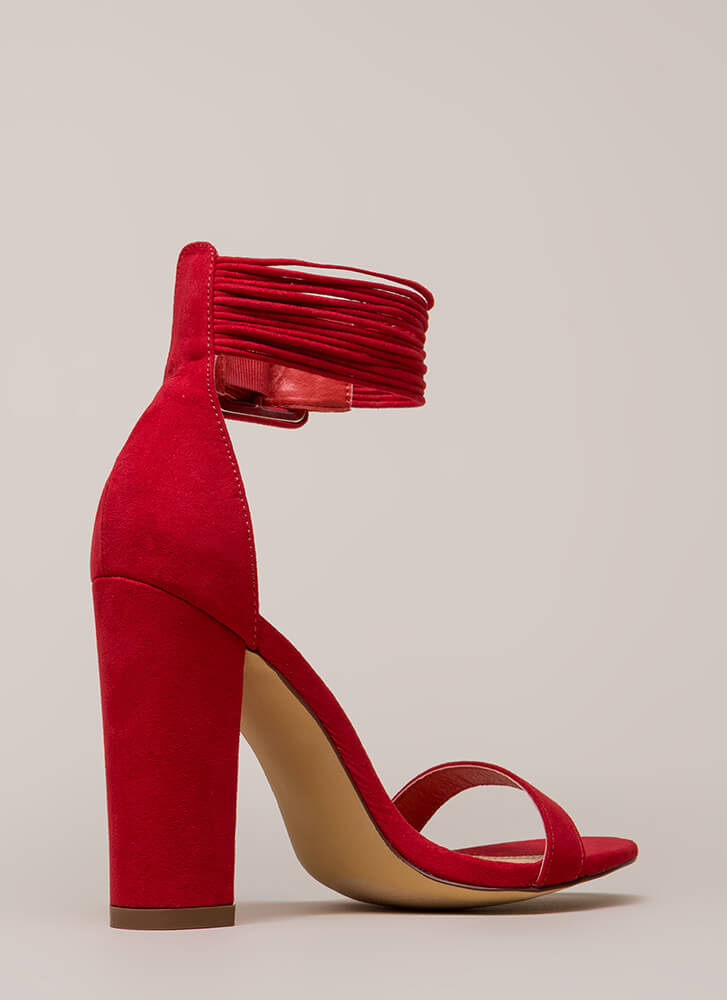 Harmonious Cords Chunky Ankle Cuff Heels RED (Final Sale)