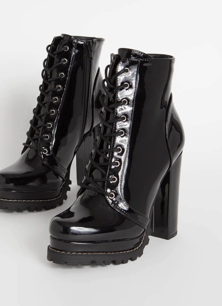 Perfect Platform Faux Patent Lug Booties BLACK