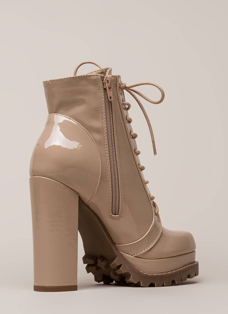 Perfect Platform Faux Patent Lug Booties NUDE