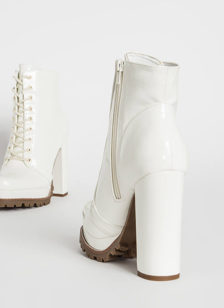 Perfect Platform Faux Patent Lug Booties WHITE