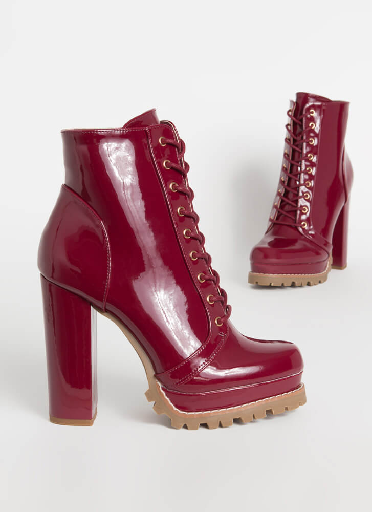 Perfect Platform Faux Patent Lug Booties WINE