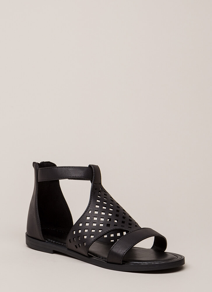 Hippie Chic Latticed Cut-Out Sandals BLACK