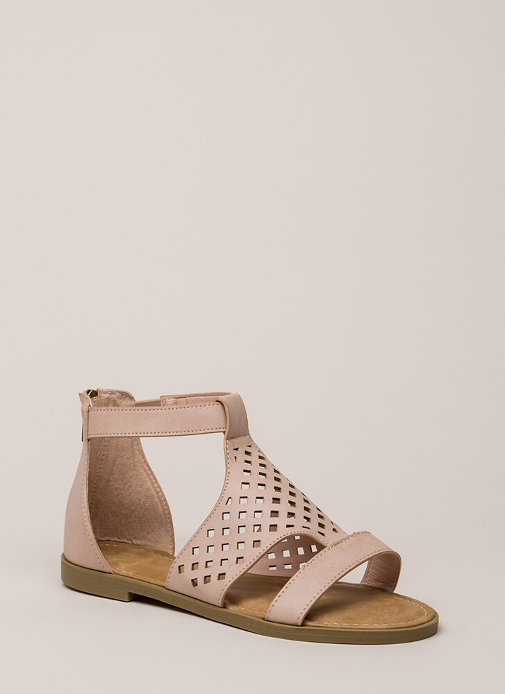 Hippie Chic Latticed Cut-Out Sandals NUDE