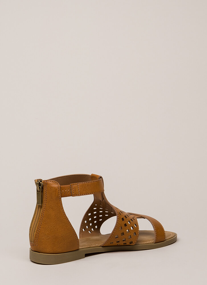 Hippie Chic Latticed Cut-Out Sandals TAN