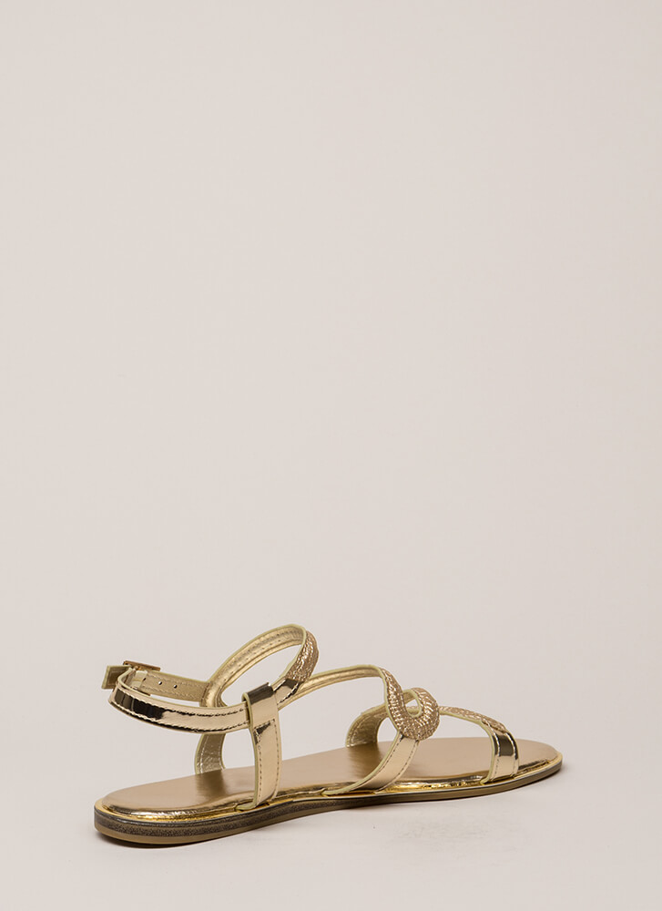 Slithering Snake Scaled Strappy Sandals GOLD