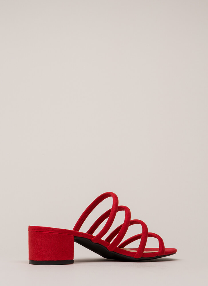 I'll Wait Four You Strappy Block Heels RED