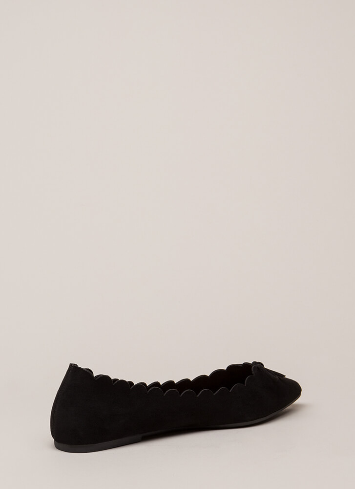 Bow My Goodness Scalloped Flats BLACK