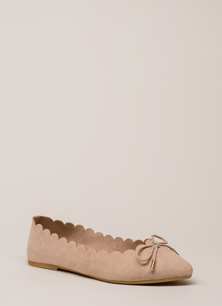 Bow My Goodness Scalloped Flats NUDE