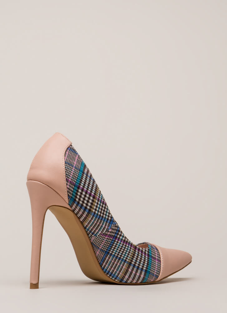 Point Me In The Plaid Direction Pumps PINK