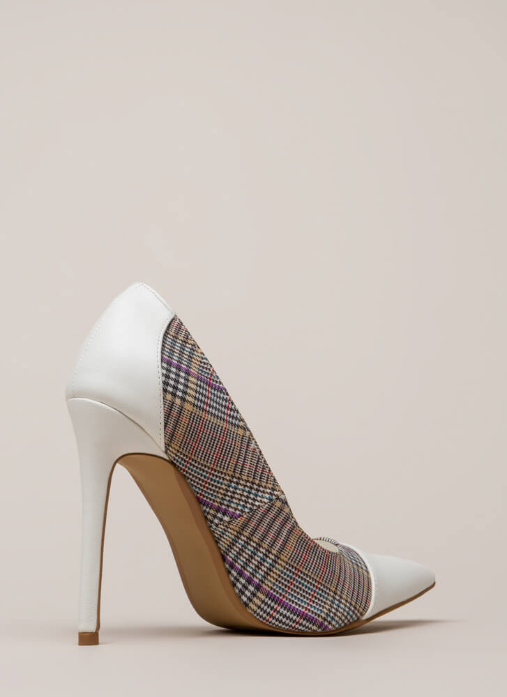 Point Me In The Plaid Direction Pumps WHITE