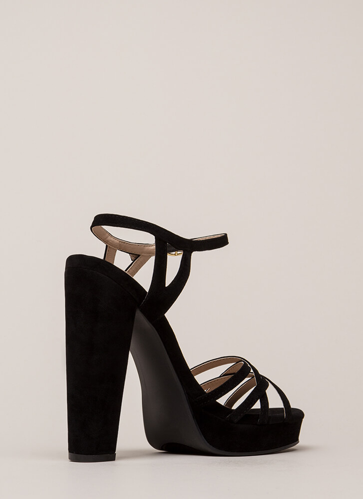 Strappy So Lucky Chunky Platform Heels BLACK (You Saved $25)