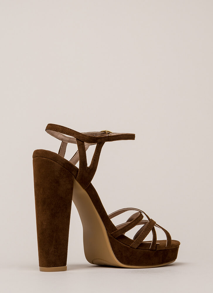 Strappy So Lucky Chunky Platform Heels BROWN (You Saved $25)