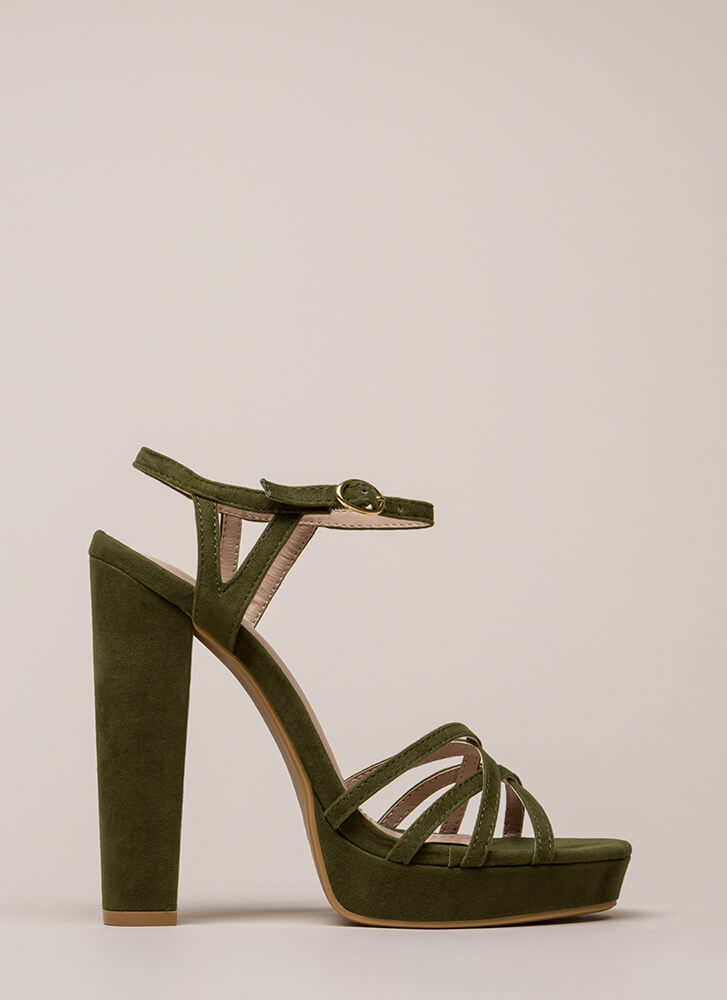 Strappy So Lucky Chunky Platform Heels OLIVE (You Saved $25)