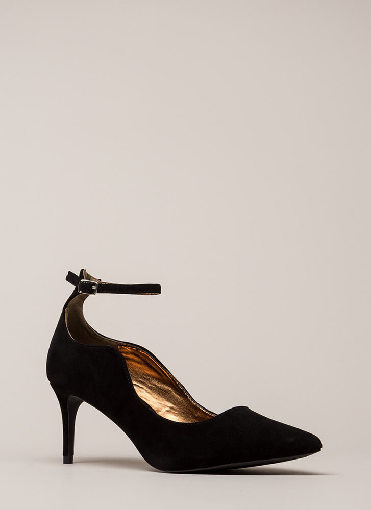Do The Wave Pointy Ankle Strap Pumps BLACK