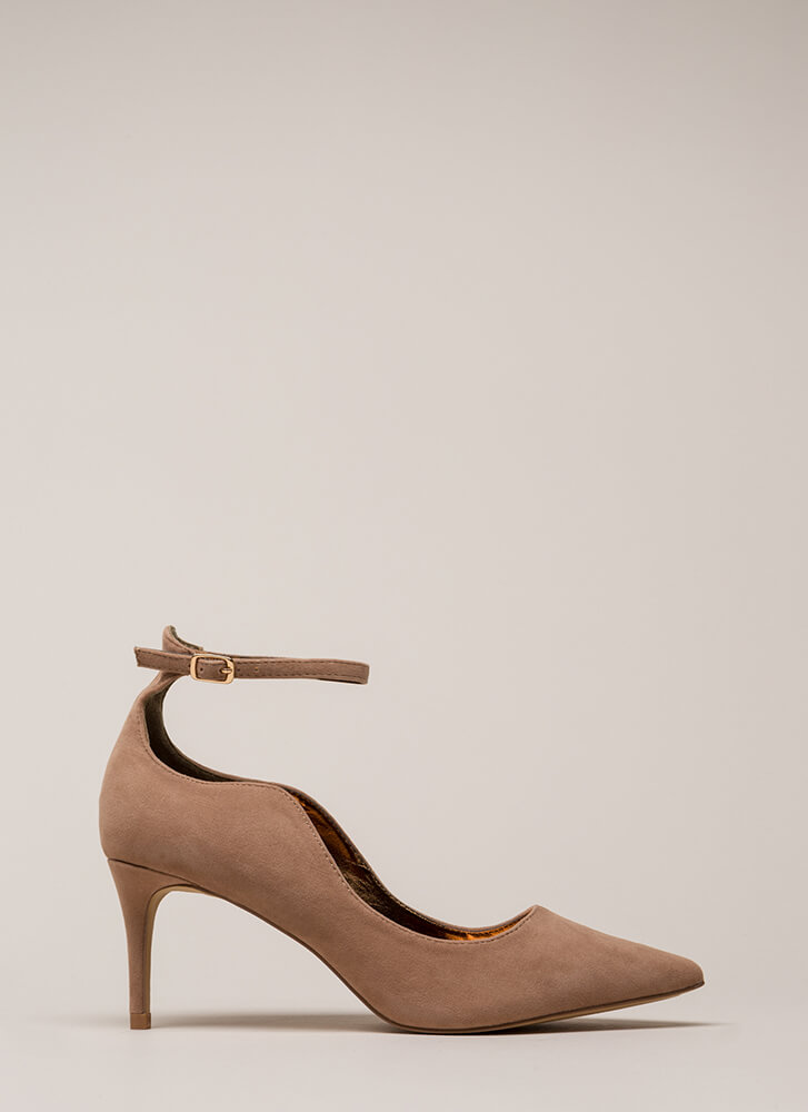 Do The Wave Pointy Ankle Strap Pumps TAUPE