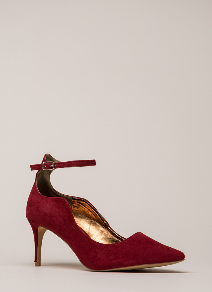 Do The Wave Pointy Ankle Strap Pumps WINE