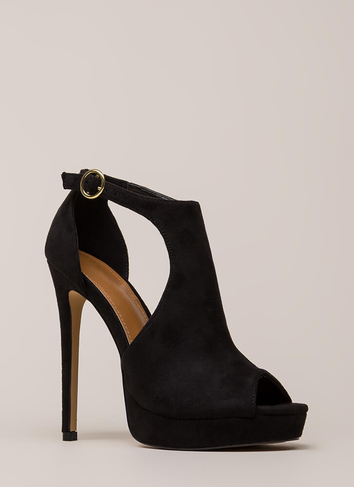 Walk-Off Cut-Out Peep-Toe Platforms BLACK