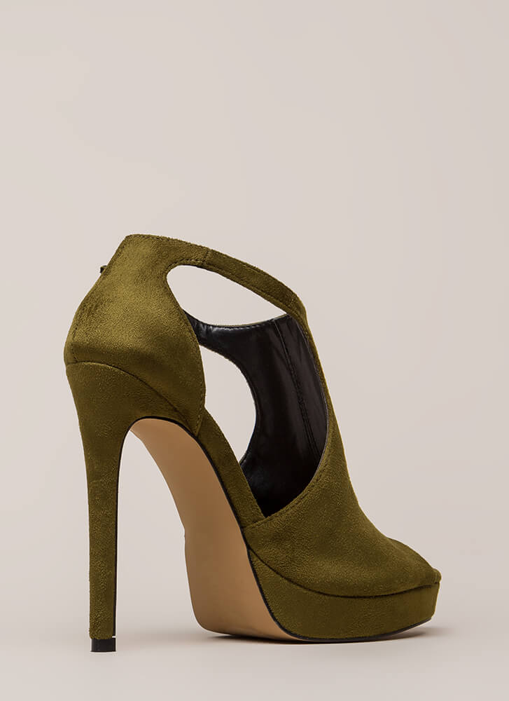 Walk-Off Cut-Out Peep-Toe Platforms OLIVE