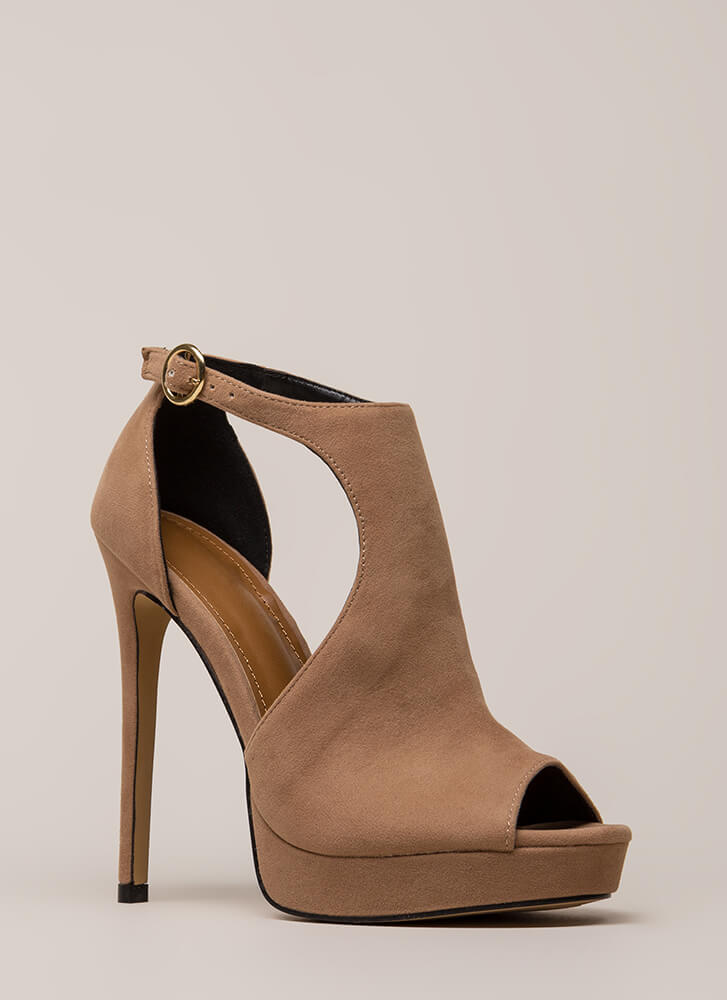 Walk-Off Cut-Out Peep-Toe Platforms TAUPE