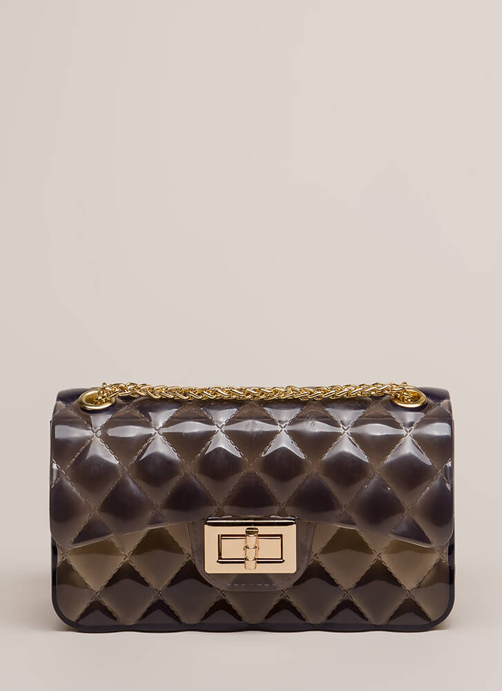 Clear As Day Quilted Jelly Purse BLACK