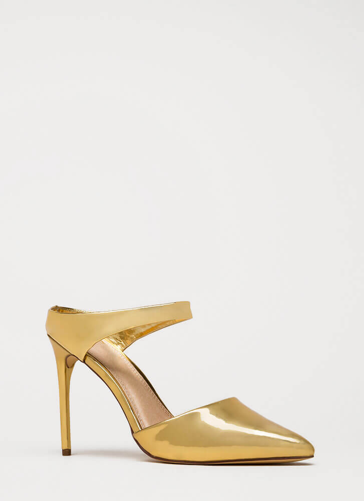 Low Profile Pointy Metallic Heels GOLD