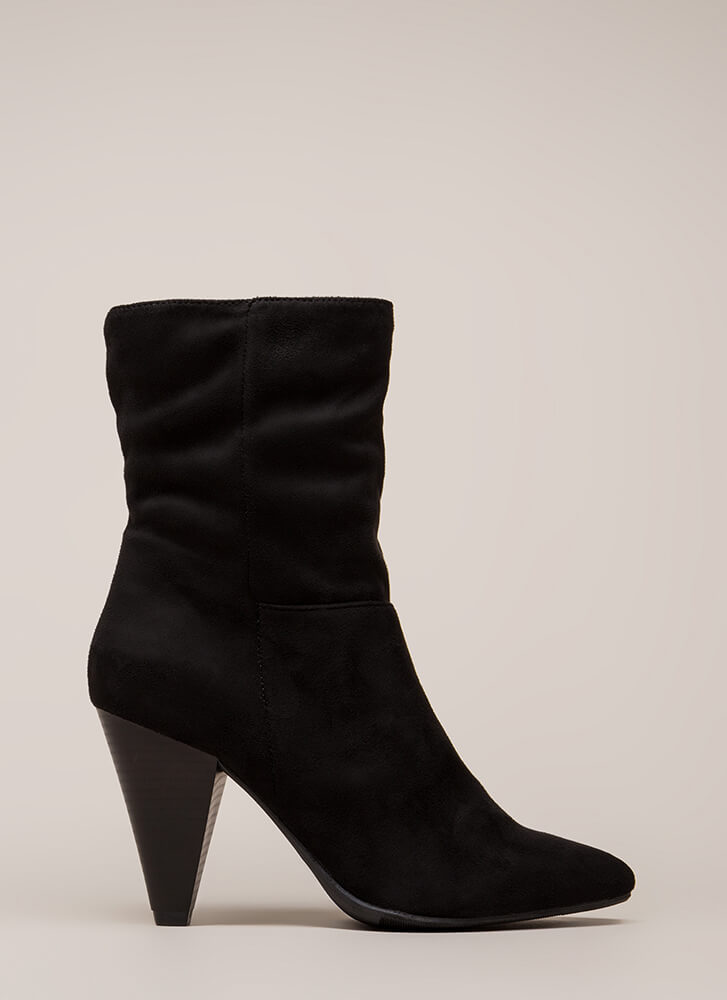 Chic For Yourself Cone Heel Boots BLACK (You Saved $28)